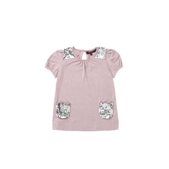French Connection Kids Girls Pink Sparkle Pocket Top