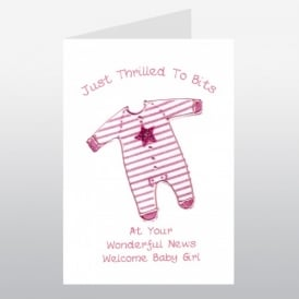 New Baby Girl Pink Babygrow Card