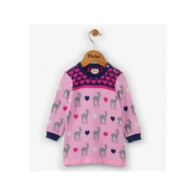 Hatley Mini Girl Deer Hearts Sweater Dress