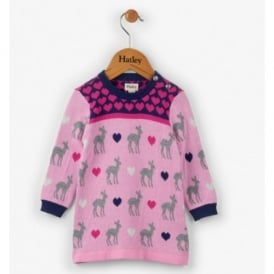 Mini Girl Deer Hearts Sweater Dress