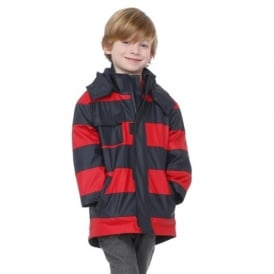 Rainwear Boys Classic Splash Jacket in Navy and Red