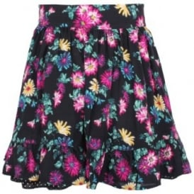 Girls Black Floral Skirt