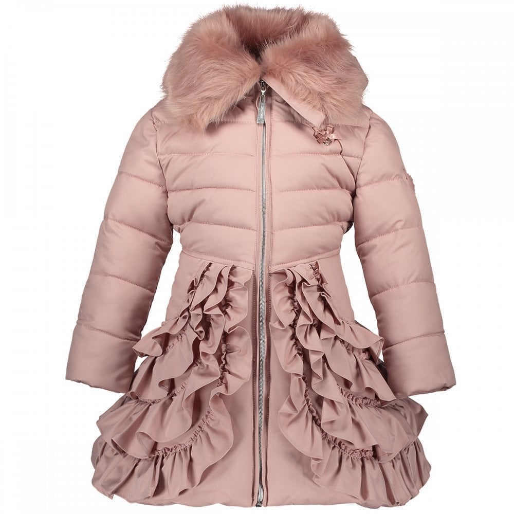 4c08ff4fdfef Le-Chic-Girls-Dusky-Pink-Ruffle-Padded-Coat