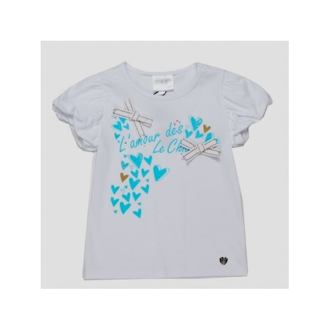 Le Chic Girls Heart Detail Top in White