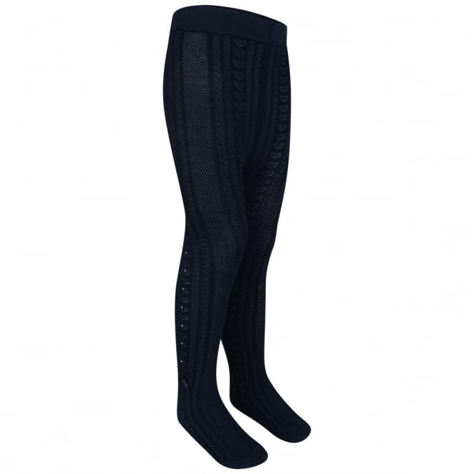 Le Chic Girls Heart Rhinestone Tights in Navy