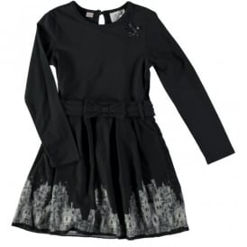 Girls Navy Dress with Print