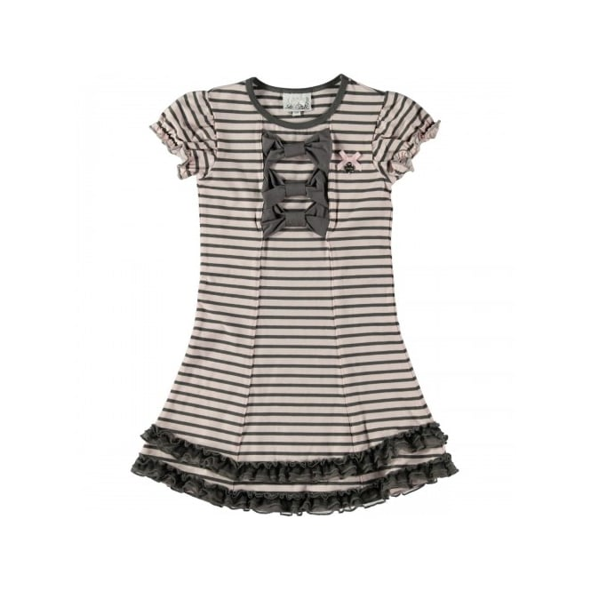Le Chic Girls Pink and Grey Stripe Dress