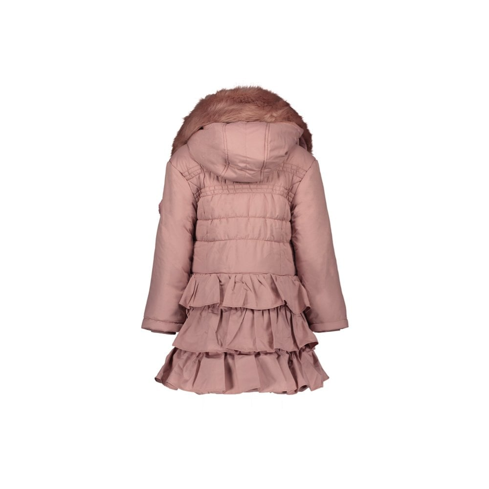Le Chic Girls Pink Dawn Padded Ruffle Coat