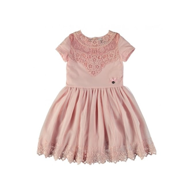 Le Chic Girls Pink Embroidered Dress