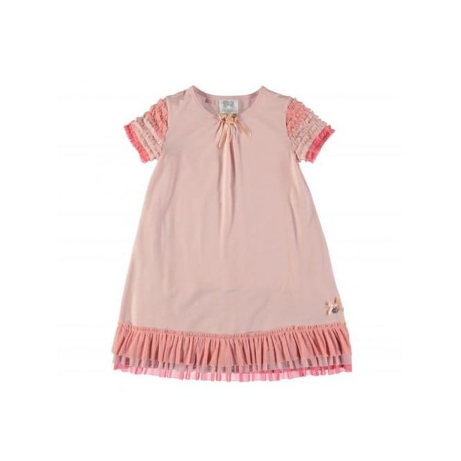 Le Chic Girls Pink Jersey Dress with Tulle Ruffles