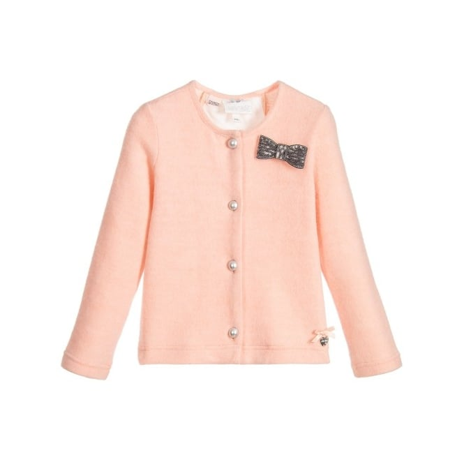 Le Chic Girls Pink Lace Back Cardigan