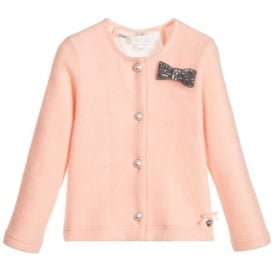 Girls Pink Lace Back Cardigan