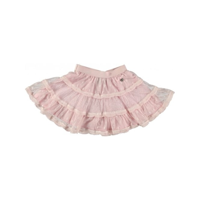 Le Chic Girls Pink Polka Dot Net Skirt