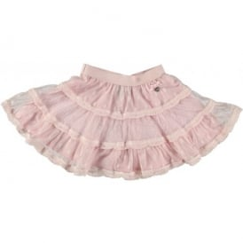 Girls Pink Polka Dot Net Skirt