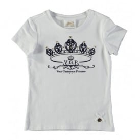 Girls Powder Blue Crown Detail T-shirt