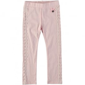 Girls Powder Pink Lace Legging