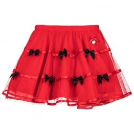 Girls Red Tulle Skirt with Navy Bows