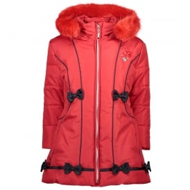 Girls Red Winter Coat with Navy Bows