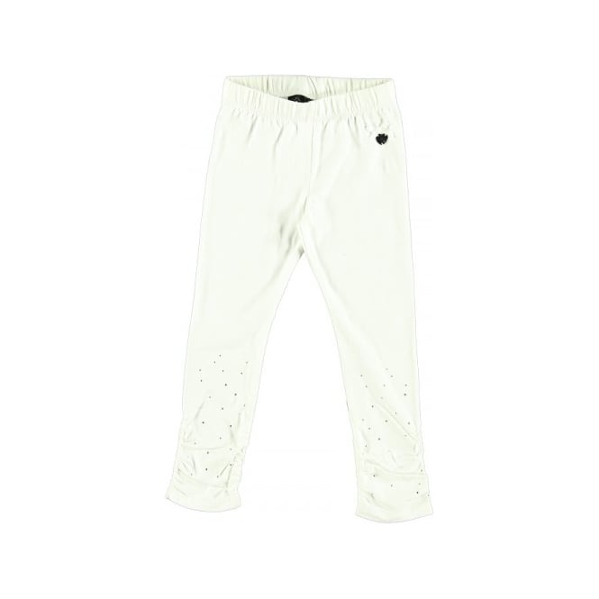Le Chic Girls Rhinestone Legging in Off White