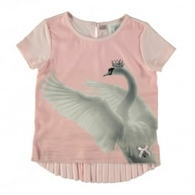 Girls Soft Pink Swan Print T-shirt