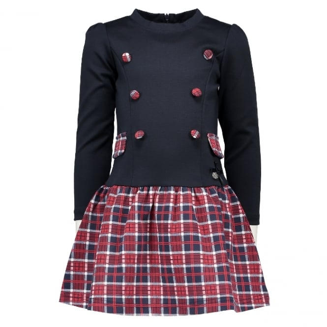 Le Chic Girls Tartan Drop Waist Dress