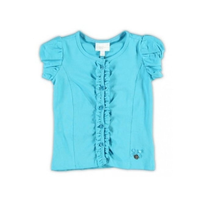 Le Chic Girls Turquoise Frill Cardigan or Top