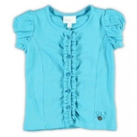 Girls Turquoise Frill Cardigan or Top