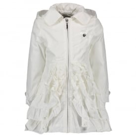 Girls White Ruffle Coat