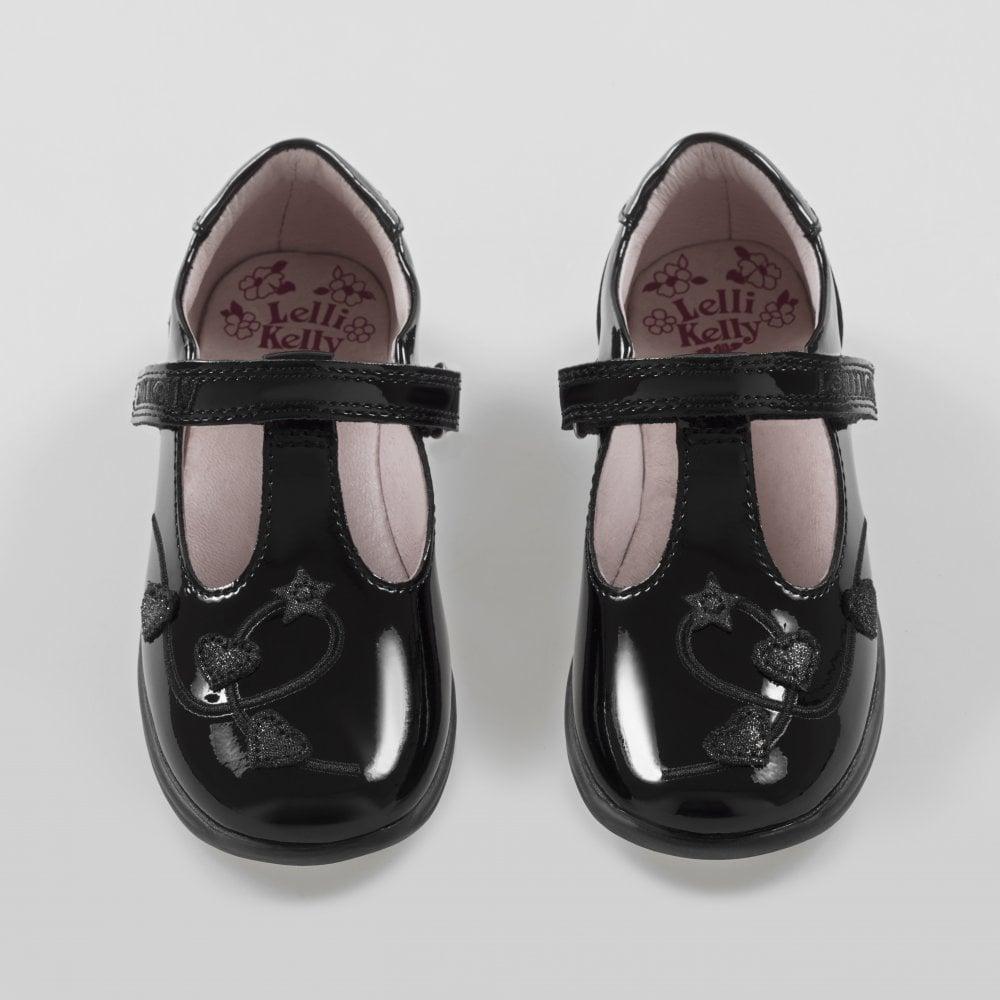 2cd2781508912 Lelli-Kelly-School-Shoe-Chloe-Black-Patent-T-Bar-Velcro-LK8250