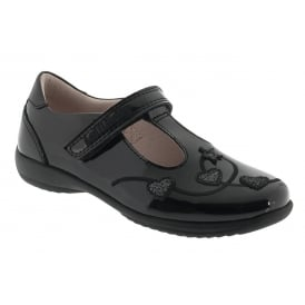 School Shoe Chloe Black Patent T-Bar Velcro LK8250