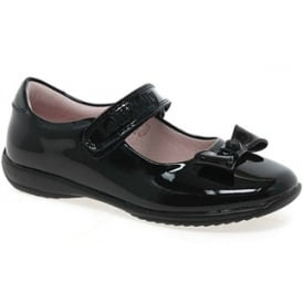 School Shoe Perrie Black Patent with Bow LK8206