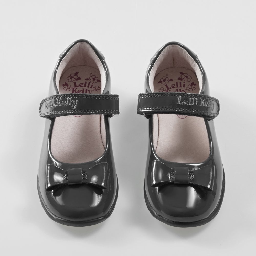 c2e553ef0e005 School Shoe Perrie Grey Patent with Bow LK8206
