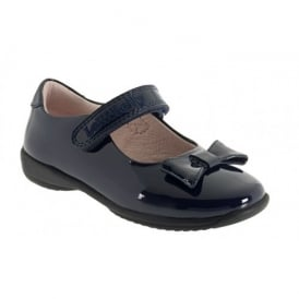 School Shoe Perrie Navy Patent with Bow LK8206