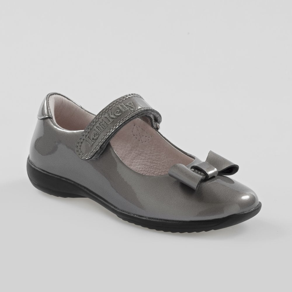 8581b34475f School Shoe Perrie Pewter Grey Patent with Bow LK8206