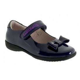 School Shoe Perrie Purple Patent with Bow LK8206