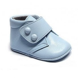 Baby Boy Leather Pram Bootie in Pale Blue