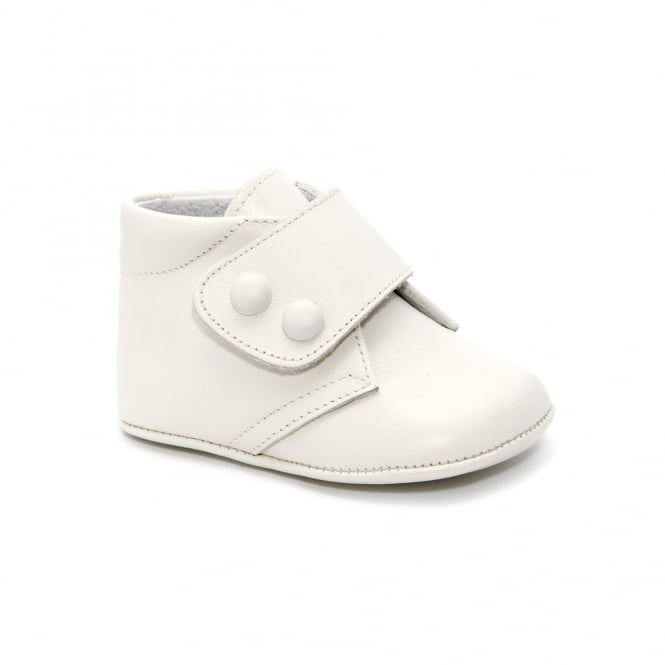 Leon Shoes Baby Boy Leather Pram Bootie in White