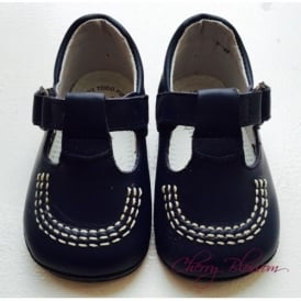 Baby Boy Navy Leather Pram Shoe