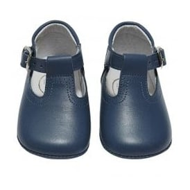 Baby Boy Navy Leather T Bar Pram Shoe