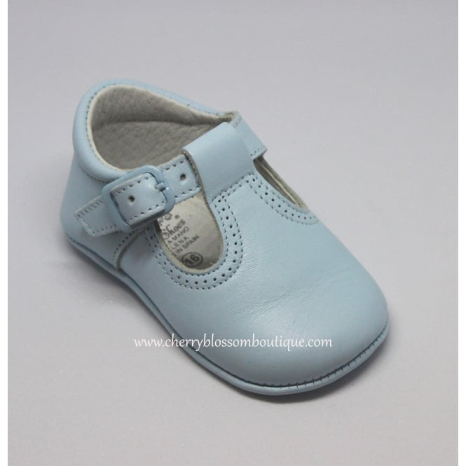 Leon Shoes Baby Boy Pale Blue Leather T Bar Pram Shoe