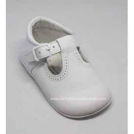 Baby Boy White Leather T Bar Pram Shoe