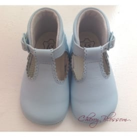 Baby Girl Pale Blue Leather Pram Shoe