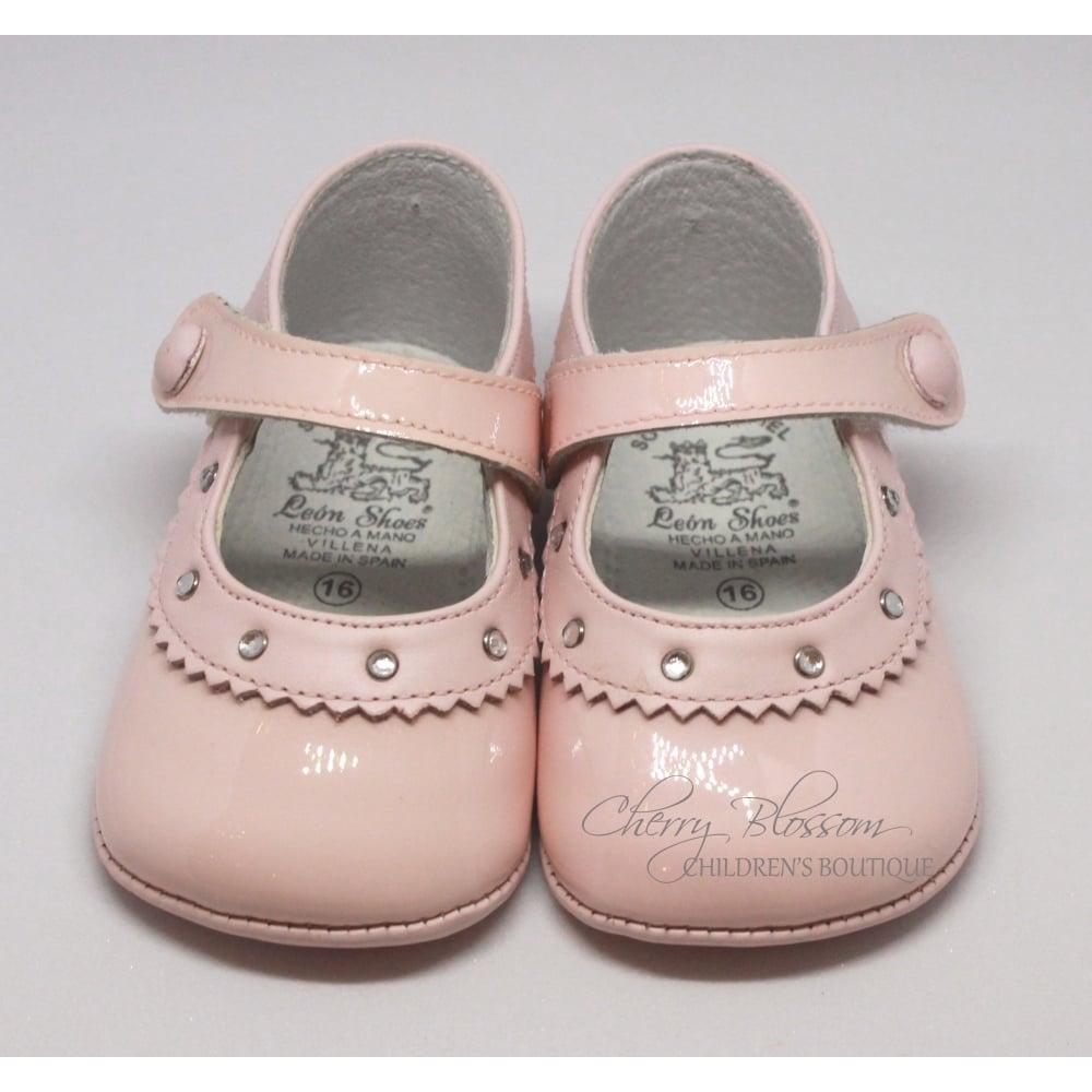 Baby-Girl-Pink-Leather-Pram-Shoe-Rhinestone