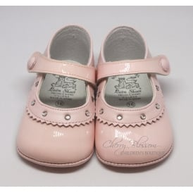 Baby Girl Pink Patent Leather Pram Shoe with Diamantes