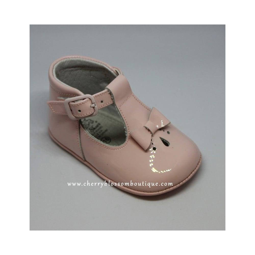 Leon-Baby-Girl-Pink-Patent-TBar-Pram-Shoe