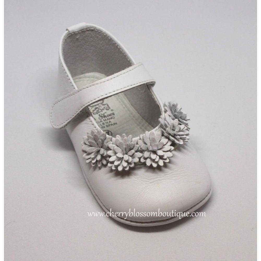 Baby-Girl-White-Leather-Flower-Pram-Shoe