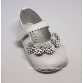 Baby Girl White Leather Flower Pram Shoe