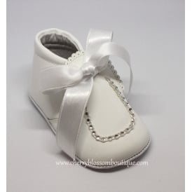 Baby Girl White Patent Leather Ribbon Bootie with Diamante