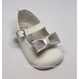 Baby Girl White Patent Pram Shoe with Silver Bow