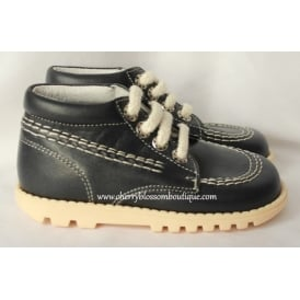 Boys Lace Up Navy Leather Boot